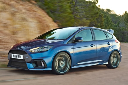 A three-quarter front view of the 2016 Ford Focus RS