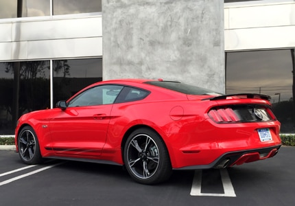 A three-quarter rear view of the 2016 Ford Mustang GT, GAYOT's Car of the Month for February 2016