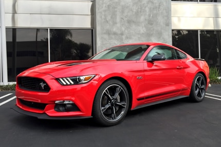 A three-quarter front view of the sleek, special trim Ford Mustang GT with the California Special package
