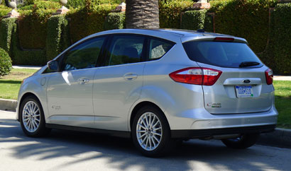 A three-quarter rear view of the Ford C-MAX Energi