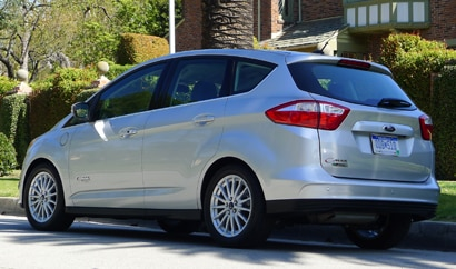 A three-quarter rear view of the 2013 Ford C-MAX Energi