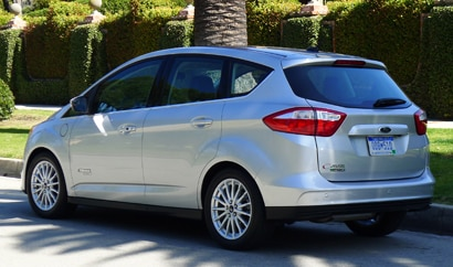 A three-quarter rear view of a 2013 Ford C-Max Energi