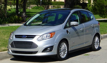 A three-quarter front view of a 2013 Ford C-MAX Energi