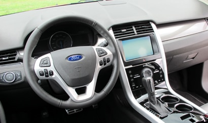 The interior of the 2011 Ford Edge Sport