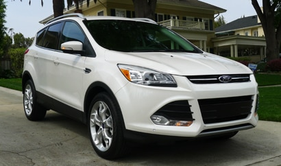 A three-quarter front view of a 2013 Ford Escape, one of our Top 10 Small SUVs