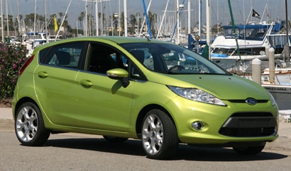 A three-quarter front view of the Ford Fiesta hatchback