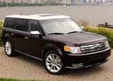 A three-quarter front view of a 2009 Ford Flex