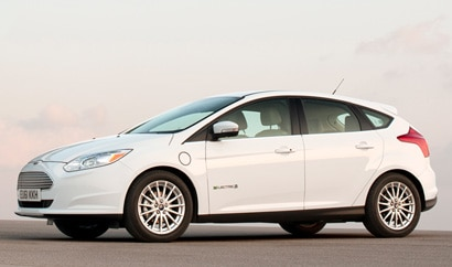 A three-quarter front view of a Ford Focus Electric