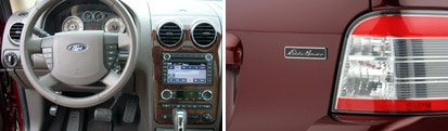 A view of the front interior and rear exterior of the 2008 Ford Taurus X AWD Eddie Bauer