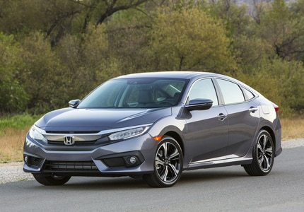 A three-quarter front view of a 2016 Honda Civic sedan