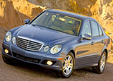 A three-quarter front view of Mercedes-Benz E320 BlueTec