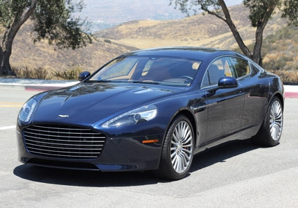 A three-quarter front view of the Aston Martin Rapide S