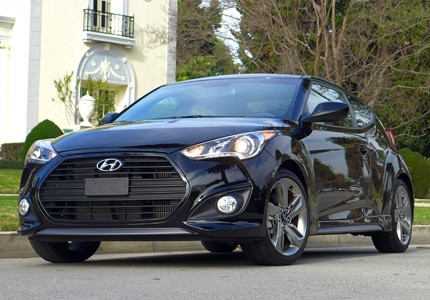 A three-quarter front view of the Hyundai Veloster R-Spec