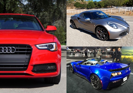 A selection of GAYOT's Top 10 Fun-to-Drive Cars, clockwise from left: Audi A5 Manual; Alfa Romeo 4C; Chevrolet Corvette Stingray Convertible
