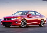 A three-quarter front view of a red 2013 Honda Accord
