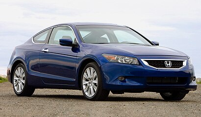A three-quarter front view of a 2008 Belieze Blue Pearl Honda Accord EX-L V6 Coupe