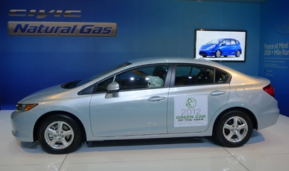 A side view of the Honda Civic Natural Gas, The Green Car Journal's 2012 Green Car of the Year