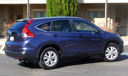 A three-quarter rear view of the 2014 Honda CR-V EX-L AWD