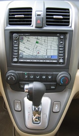 The Honda CR-V's center console with optional touchscreen navigation system