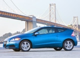 A side view of a blue 2011 Honda CR-Z