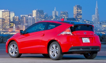 A three-quarter rear view of red 2011 Honda CR-Z