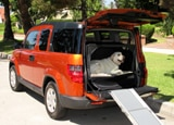 A three-quarter rear view of the dog-friendly 2010 Honda Element 4WD EX