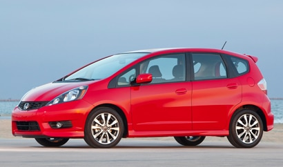 A three-quarter front view of the Honda Fit