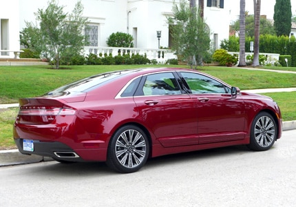 A three-quarter rear view of the Lincoln MKZ Hybrid Black Label Edition
