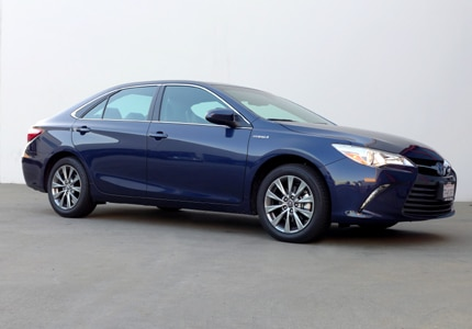 A three-quarter front view of the Toyota Camry Hybrid