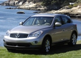 A three-quarter front view of a 2008 Infiniti EX35 Journey