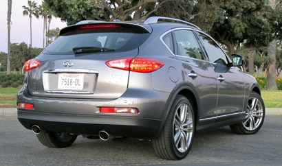 A three-quarter rear view of a 2013 Infiniti EX37 Journey