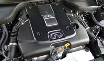 The 348-horsepower, 3.7-liter V6 engine of the Infiniti IPL G Coupe