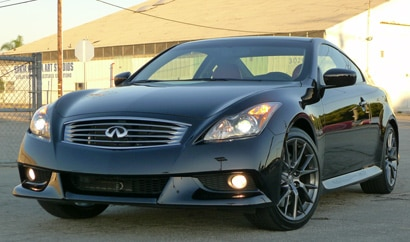 A three-quarter front view of a 2012 Infiniti IPL G Coupe