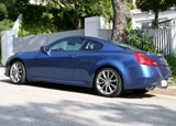 A three-quarter rear view of a blue 2008 Infiniti G37 S