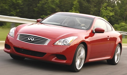 A three-quarter front view of a red 2008 Infiniti G37 S in motion