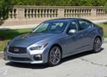 A three-quarter front view of the 2014 Infiniti Q50S