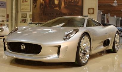 A three-quarter front view of a 2013 Jaguar C-X75