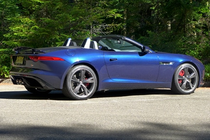 A three-quarter rear view of a 2014 Jaguar F-TYPE S