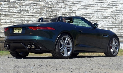 A three-quarter rear view of a Jaguar F-TYPE S