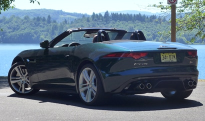 A three-quarter rear view of the Jaguar F-TYPE V8 S Convertible