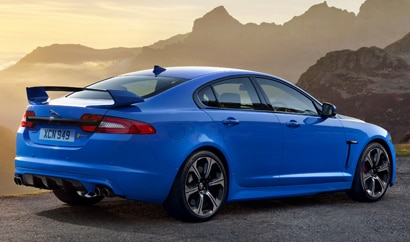 A three-quarter rear view of the Jaguar XFR-S