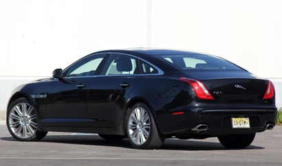 A three-quarter rear view of a 2011 Jaguar XJL Supercharged