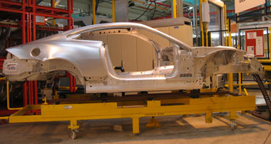 An XK's aluminum frame at Jaguar's Castle Bromwich factory in England