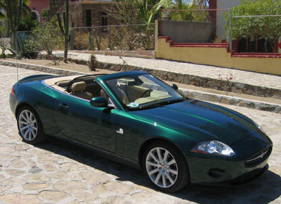 A view of a green 2007 Jaguar XK