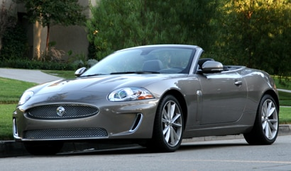 A three-quarter front view of a 2010 Jaguar XKR Convertible