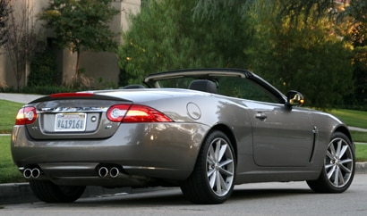 A three-quarter rear view of a 2010 Jaguar XKR Convertible