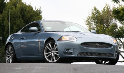 A three-quarter front view of a Jaguar XKR Coupe