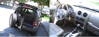 A rear and interior view of a 2006 Jeep Liberty Renegade 4x4