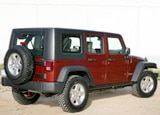 A three-quarter rear view of a 2008 Jeep Wrangler Unlimited Rubicon