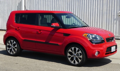 A three-quarter front of a 2013 Kia Soul